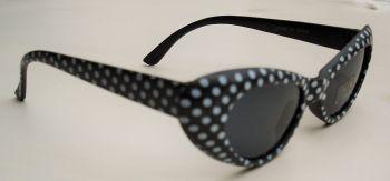 Cateyes Sonnenbrille - Schwarz mit weissen Punkten