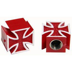 Ventilkappen - Malteser Kreuz / rot - paar
