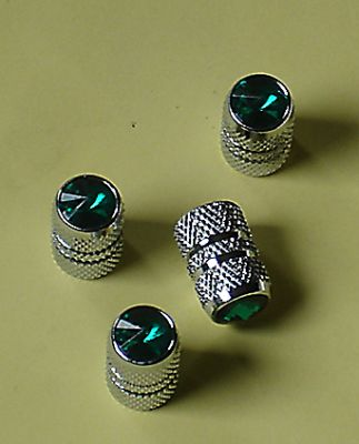 Green Jeweled Air Valve Caps