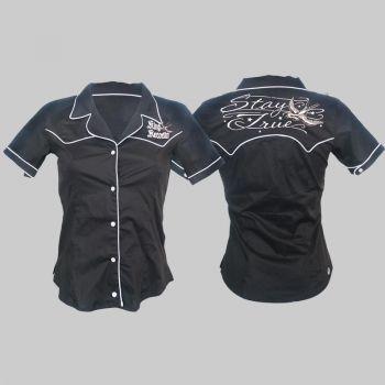 King Kerosin Retro Button Bluse - EST/black