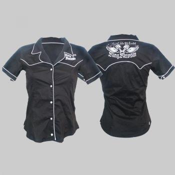 King Kerosin Limited Retro Button Bluse - Efw2/ black