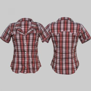 King Kerosin Retro Button Bluse - Rot / caro - blanko
