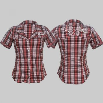 King Kerosin Retro Button Bluse - Est /red