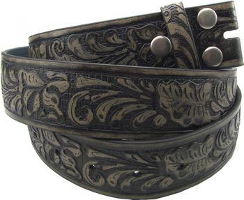 Ledergürtel bt-Black Leather Flower Embossed Belt