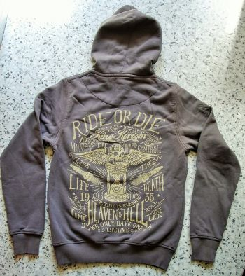 Used-Airbrush-Zipper grau King Kerosin - Ride or Die / Time is Running