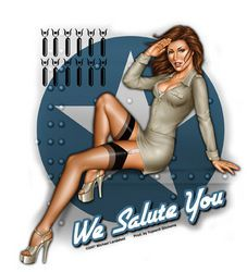 Grosser Pin up Sticker - We Salute You