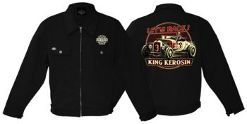King Kerosin *Gestickte* Workerjacket Black - Lets Race /  Limited Edition