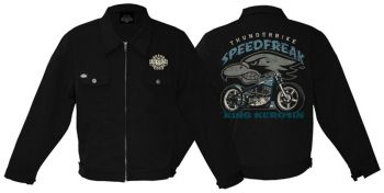 King Kerosin *Gestickte* Workerjacket black - Speedfreak /  Limited Edition