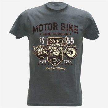 King Kerosin Vintage T-Shirt - Motor Bike grey