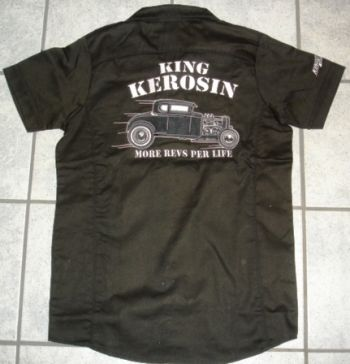 KING KEROSIN BESTICKTE RETRO Shirt / More Revs per Life - Hot Rod