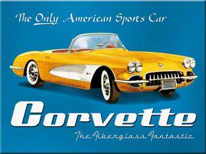 Blechpostkarte - Yellow Corvette