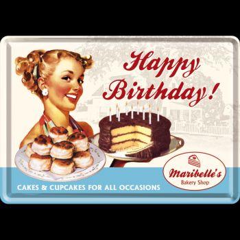 Blechpostkarte - Happy Birthday Cake