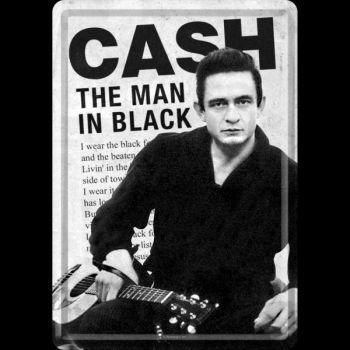 Blechpostkarte - Johnny Cash / Man in Black