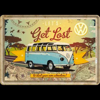 Blechpostkarte - VW Bulli / Let`s Get Lost