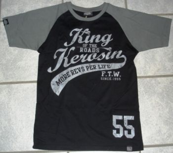 King Kerosin Raglan T-Shirt - King of the Road-Black / grau