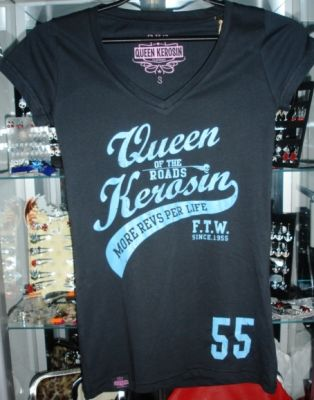 Queen Kerosin V-Neck T-Shirt Tvg-Q55 / Queen of the Road