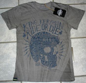King Kerosin Batik Vintage Shirt / Ride or Die-grey