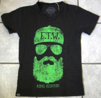 King Kerosin V-Neck T-Shirt - FTW black/green