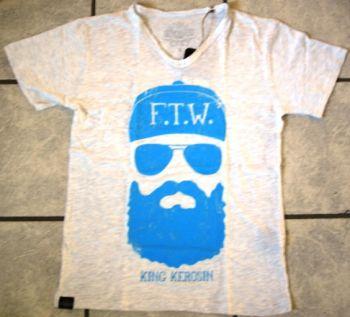 King Kerosin V-Neck T-Shirt - FTW weiss/blau
