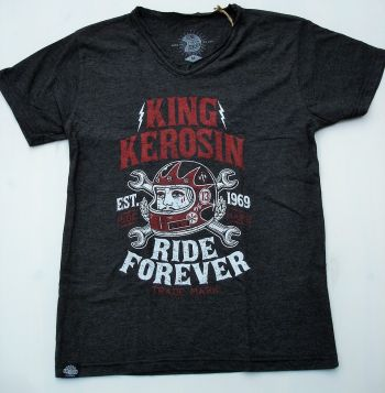 King Kerosin V-Neck T-Shirt - Ride Hard Forever 69 / black