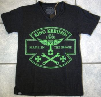 King Kerosin V-Neck T-Shirt - Made in the Garage - Black/Green