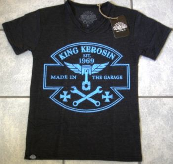King Kerosin V-Neck T-Shirt - Made in the Garage - Schwarz/blau