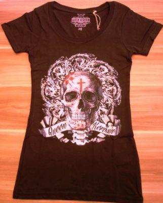 Queen Kerosin Longshirt / Nst2 - FSK  Flower Skull-schwarz