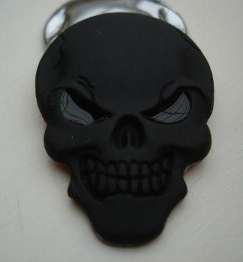 Skull 3D Metal Sticker - schwarz matt 3D Totenkopf