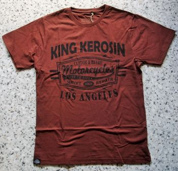 King Kerosin Regular T-Shirt Cinnamon Brown / Retro Motorcycles