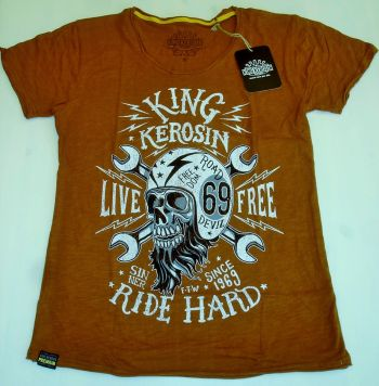Watercolor-Shirt von King Kerosin rost braun / Live Free, Ride H