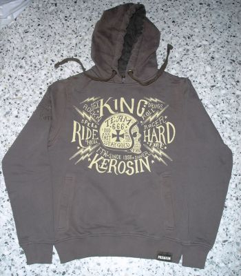 Used-Airbrush-Hoodie grau King Kerosin - Team 666