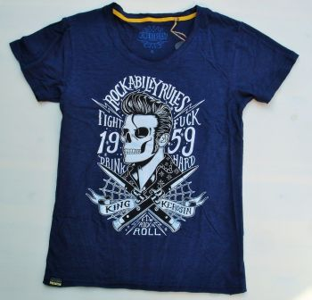 Watercolor-Shirt von King Kerosin Blau / Rockabilly Rules