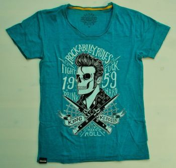 Watercolor-Shirt von King Kerosin Smokeblue / Rockabilly Rules