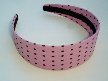 Haarreif von Rock Daddy - pink mit schwarzen Punkte
