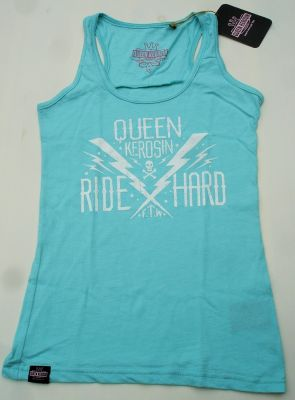 QUEEN KEROSIN Melange Tank Top TTG- Ride Hard Türkis