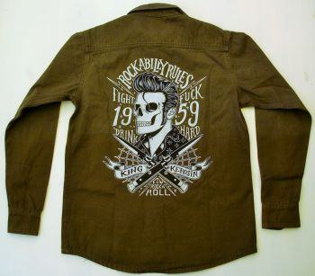 Vintage-Canvas-Shirt dusty olive - Rockabilly Rules