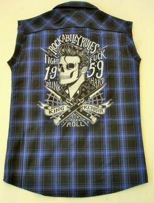 Ärmelloses Karo Hemd blau/schwarz - Rockabilly Rules