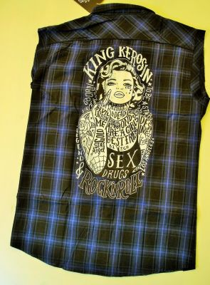 Ärmelloses Karo Shirt blau/schwarz - Tattooed Girl