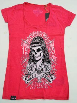 Queen Kerosin Batik Vintage Shirt / Rockabilly Rules - pink