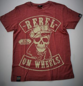 King Kerosin Slub Jersey T-Shirt - Rebel On Wheels/r-braun