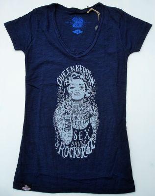 Queen Kerosin Batik Vintage Shirt / Tattoed Girl - dark