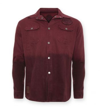 Vintage-Canvas-Shirt Weinrot - blanko