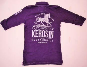 Batik Vintage Poloshirt von Queen Kerosin - Bakersfield lila