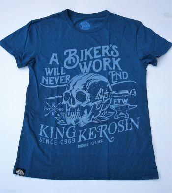 Watercolor-Shirt von King Kerosin / Biker`s Work - blau