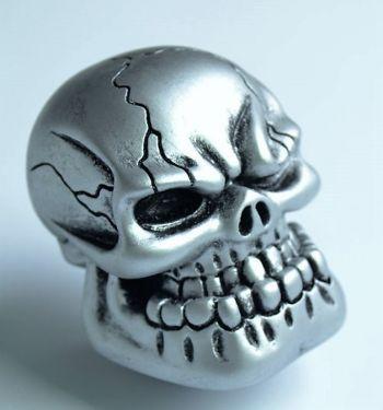 Schaltknauf - Punchy Skull / grau - silber