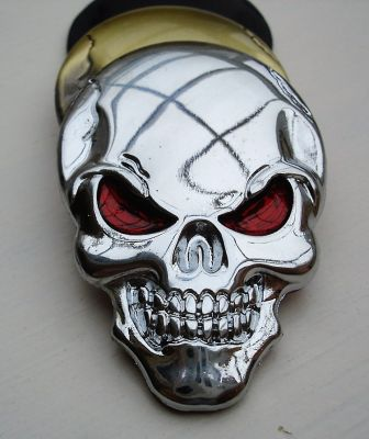 Skull 3D Metal Sticker - Chrome 3D Totenkopf