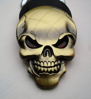 Skull 3D Metal Sticker - Bronce
