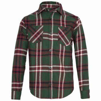 Karo Button Hemd - Grün / beige / braun