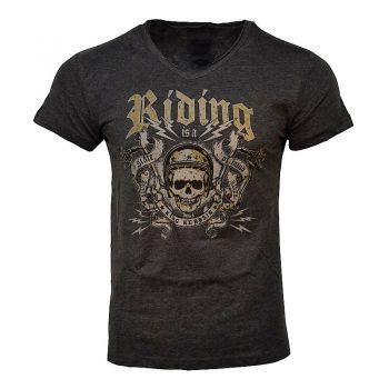 King Kerosin V-Neck Melange T-Shirt - Riding / black