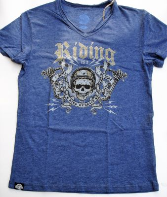 King Kerosin V-Neck Melange T-Shirt - Riding / Atlantic Blue